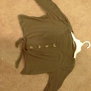Army Green cropped shirt